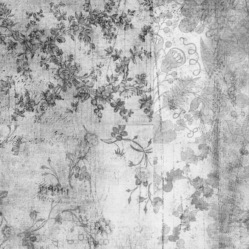 blom- grungy scrapbooktappning för bakgrund royaltyfri illustrationer