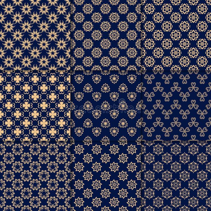 Blom- guld- blåa sömlösa modeller Bakgrunder med fowerbeståndsdelar för tapeter stock illustrationer