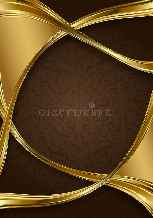 blom- guld för abstrakt bakgrundsbrown royaltyfri illustrationer