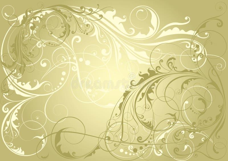 blom- guld- för bakgrund royaltyfri illustrationer