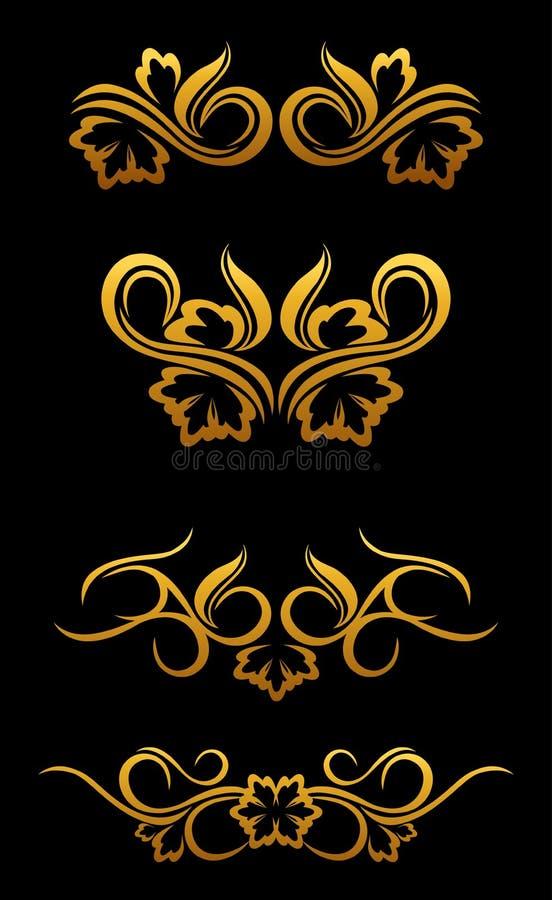 blom- guld- för kant stock illustrationer