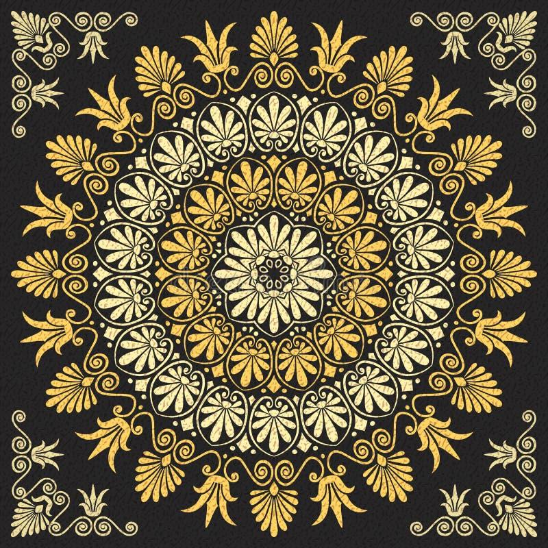 Blom- guld- grekisk prydnad för vektor stock illustrationer