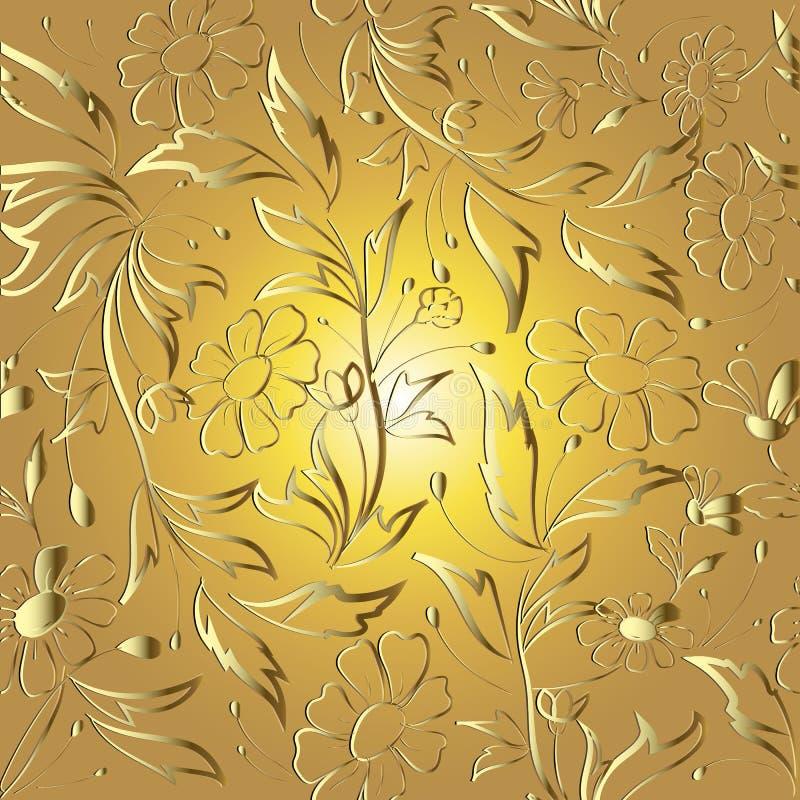 Blom- guld- linje sömlös modell för elegans för konsttraceryvektor Dekorativ härlig guld- bakgrund Upprepa dekorativt blommigt royaltyfri illustrationer