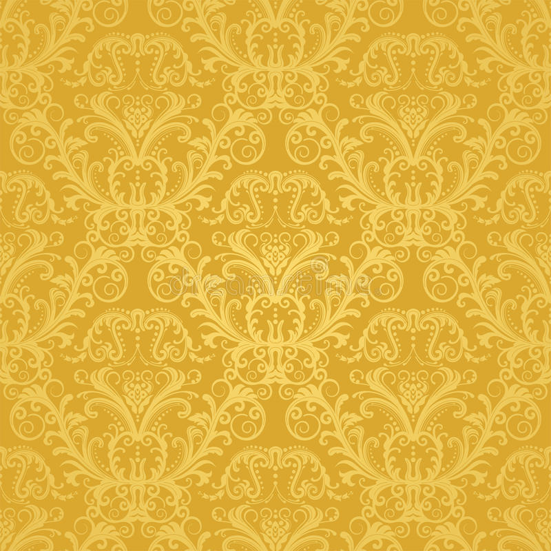 blom- guld- lyxig seamless wallpaper vektor illustrationer