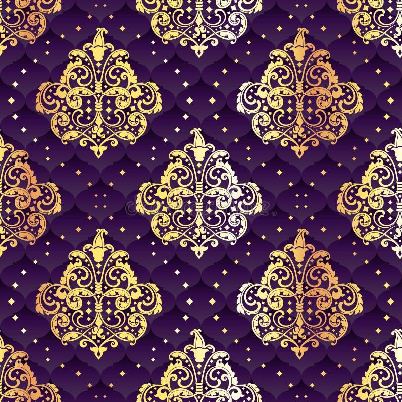 Blom- guld och purpura seamless rokokor royaltyfri illustrationer