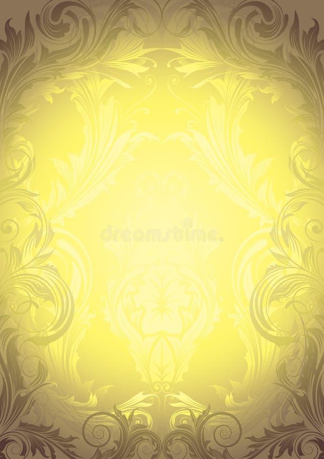 Blom- guld- retro bakgrund royaltyfri illustrationer