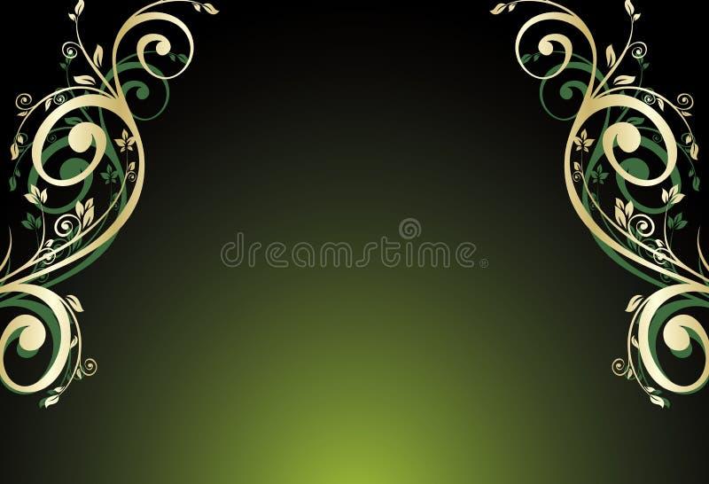 blom- guldgreen för kort stock illustrationer