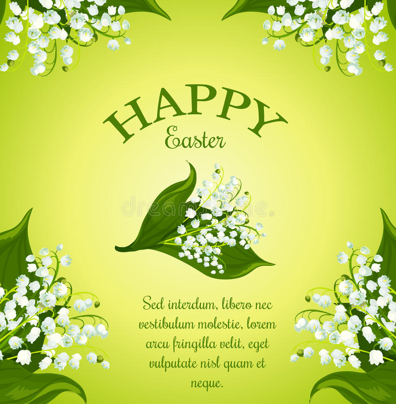 Blom- hälsningaffisch för påsk med vårblommor royaltyfri illustrationer
