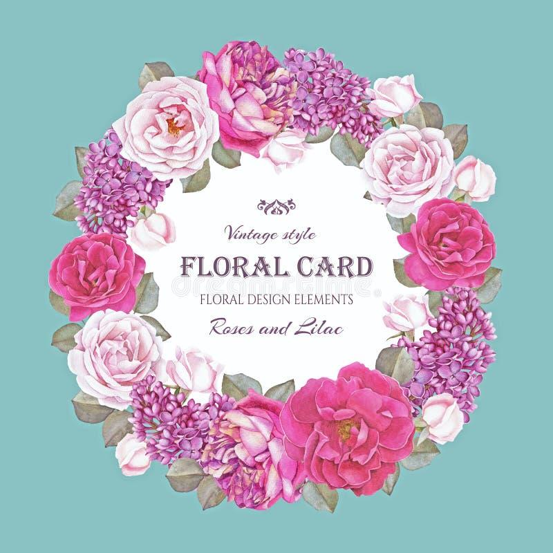 Blom- hälsningkort för tappning med en ram av den vattenfärgrosor och lilan royaltyfri illustrationer