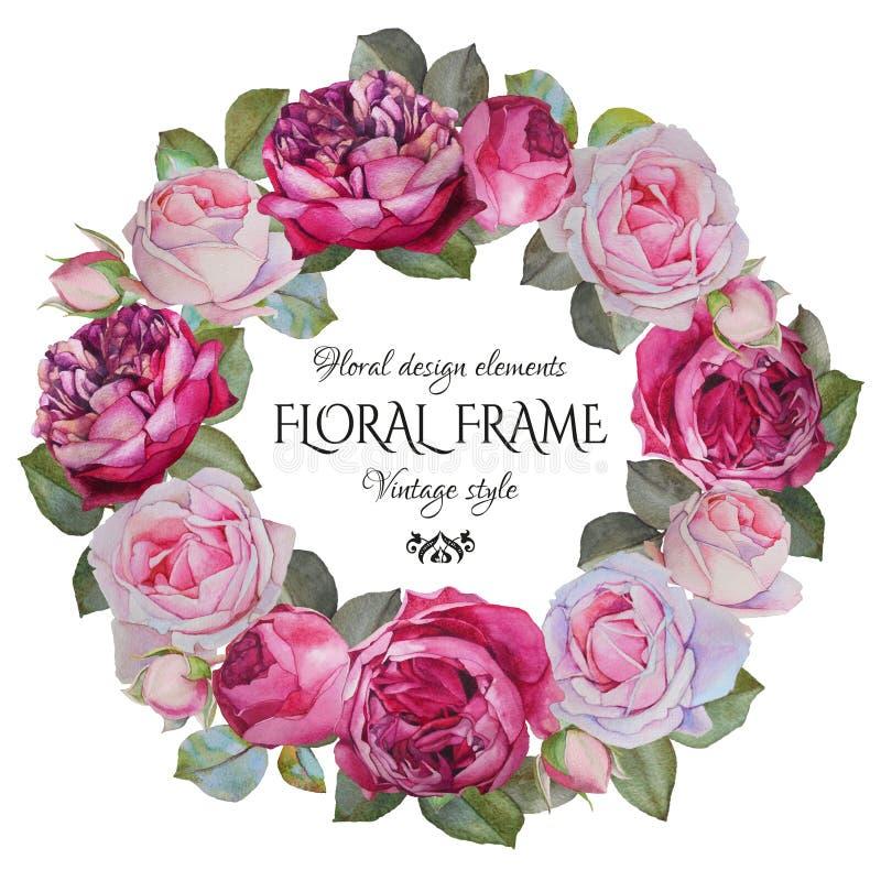 Blom- hälsningkort för tappning med en ram av vattenfärgrosor vektor illustrationer