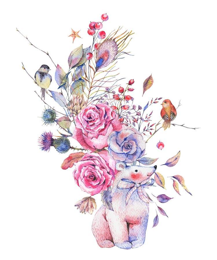 Blom- hälsningkort för vattenfärg med den gulliga isbjörnen royaltyfri illustrationer