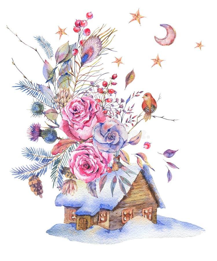 Blom- hälsningkort för vattenfärg med hus- och tappningrosor, stock illustrationer