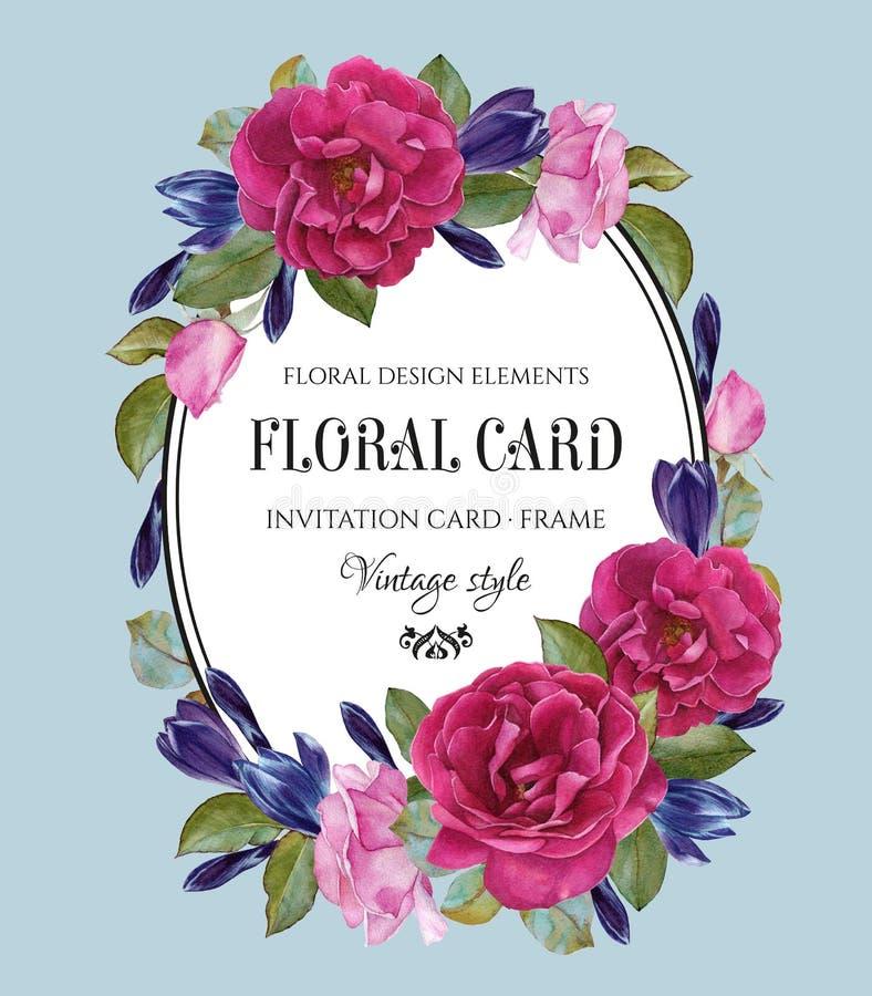 Blom- hälsningkort i tappningstil stock illustrationer