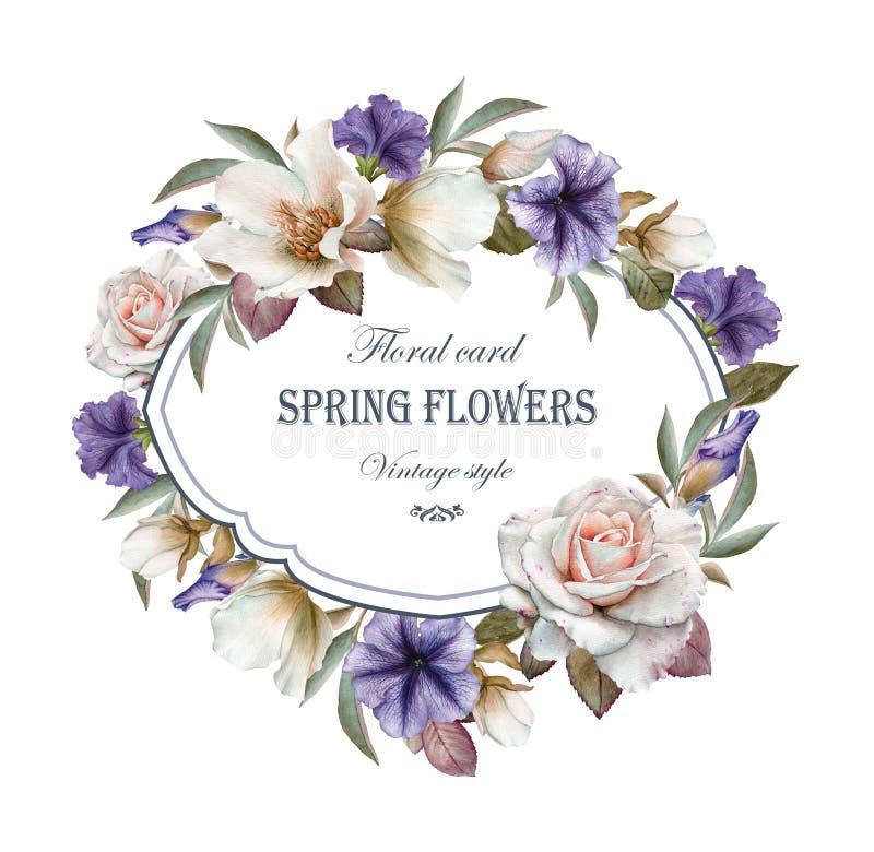 Blom- hälsningkort med ramen av rosor, petunian och helleboren royaltyfri illustrationer