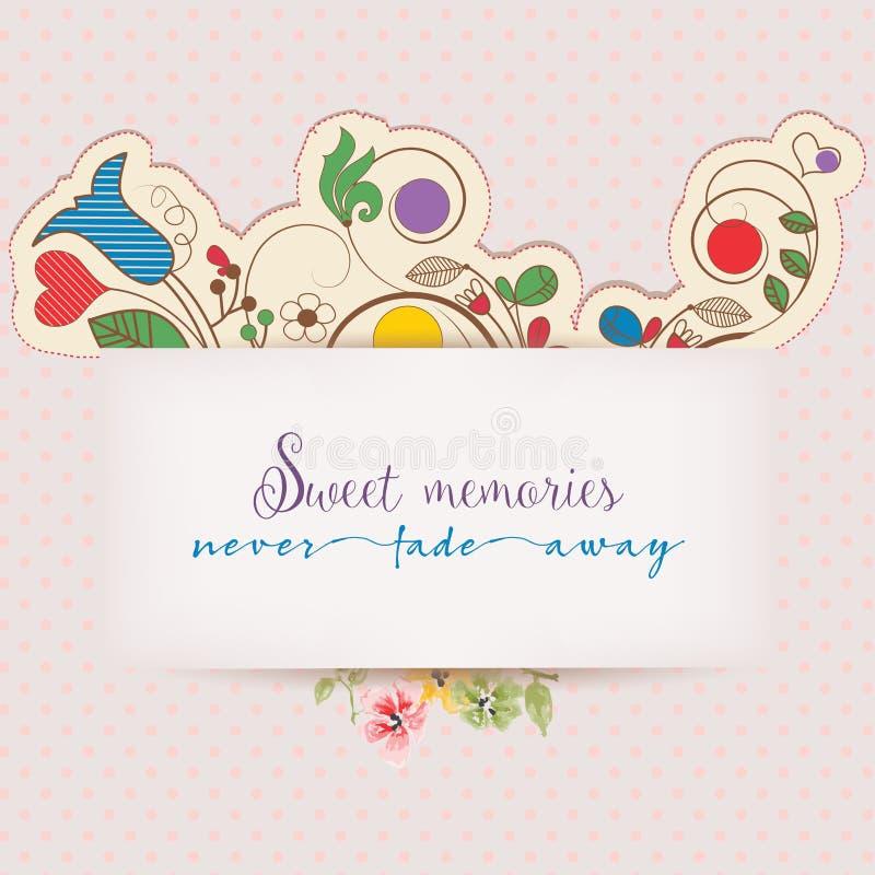Blom- hälsningkort med textmeddelandet stock illustrationer
