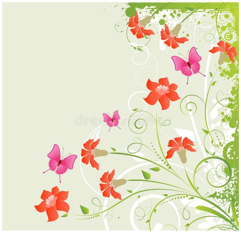 Blom- hörn för Grunge stock illustrationer