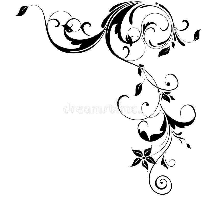 Blom- hörn för tappning stock illustrationer