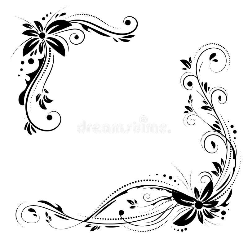 Blom- hörndesign Prydnadsvart blommar på vit bakgrund vektor illustrationer