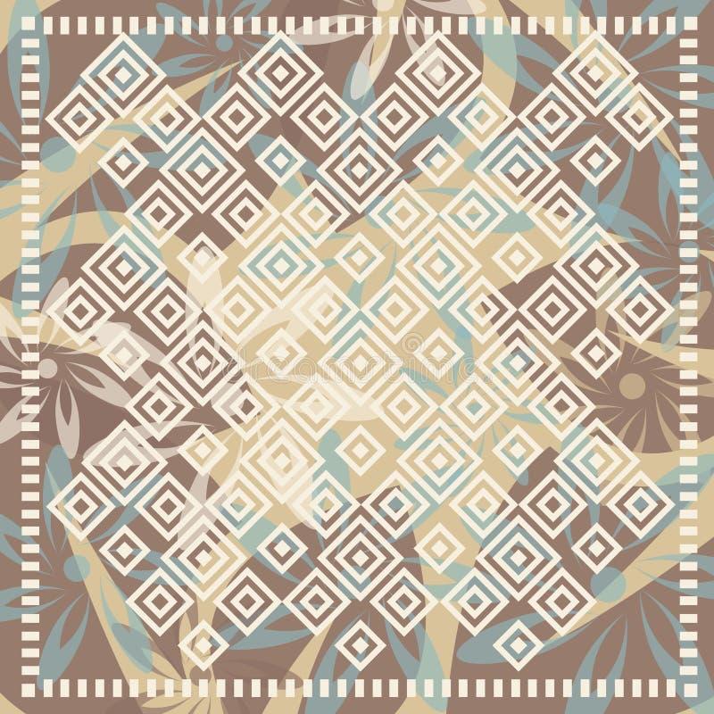 Blom- halsduk med mosaikbevekelsegrund royaltyfri illustrationer