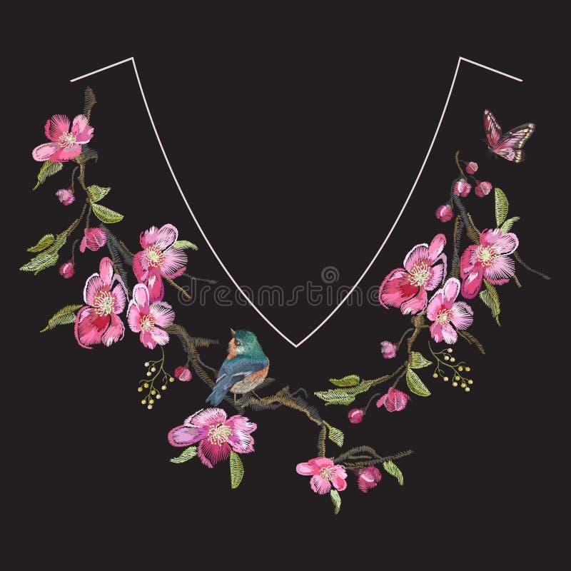 Blom- halslinje modell för broderi med den orientaliska körsbärsröda blomningen vektor illustrationer