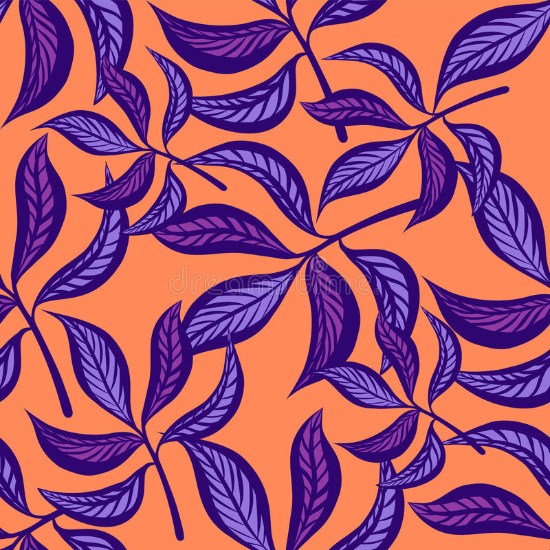 Blom- hand dragen sömlös modell för tappning med sidor Sagolika lilasidor på peachy bakgrund seamless tropiskt vektor illustrationer