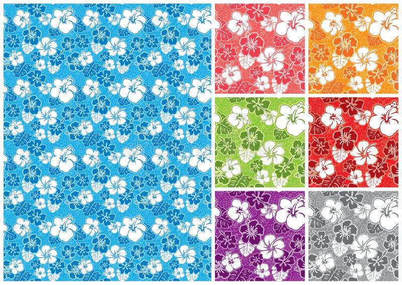 blom- hawaianskt seamless stock illustrationer