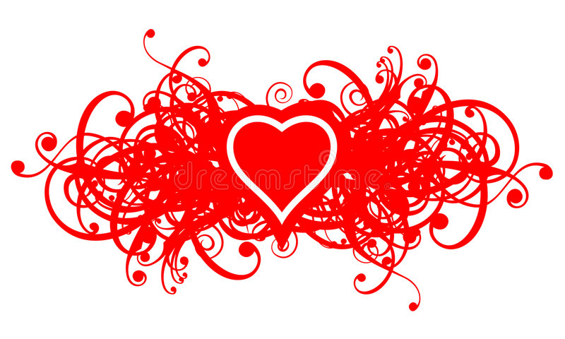 blom- heart02 royaltyfri illustrationer