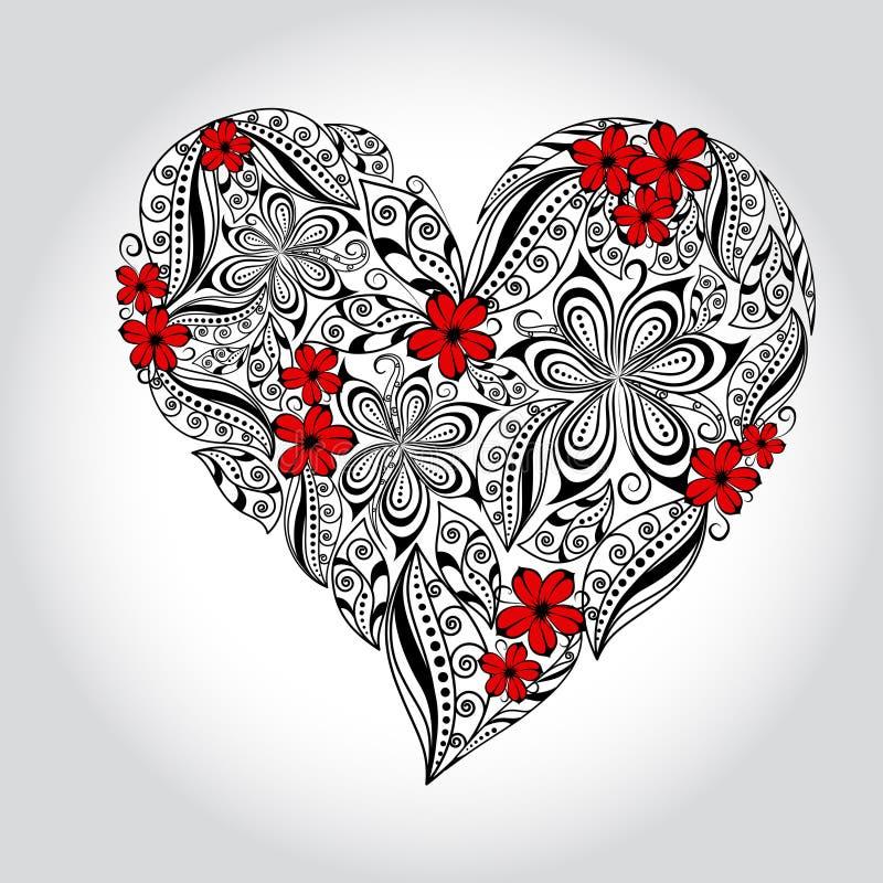 blom- hjärta royaltyfri illustrationer