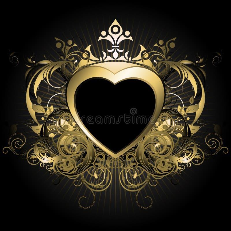 blom- hjärta stock illustrationer