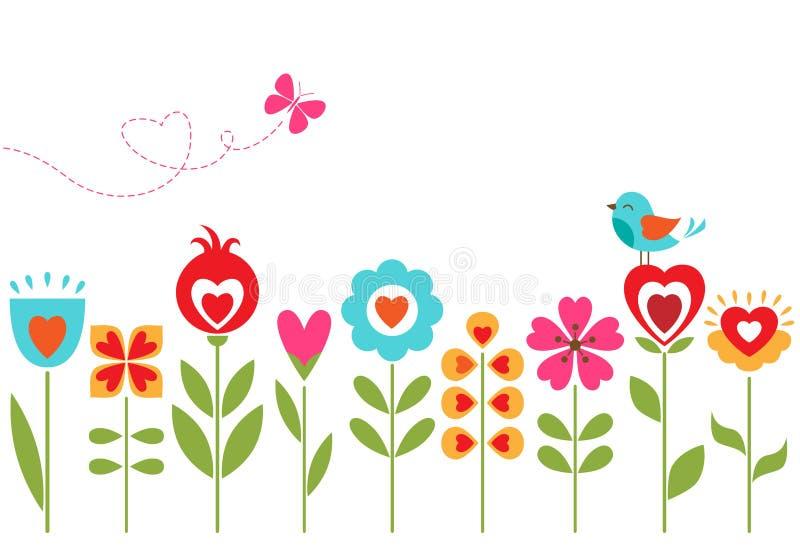 Blom- hjärtadesign vektor illustrationer