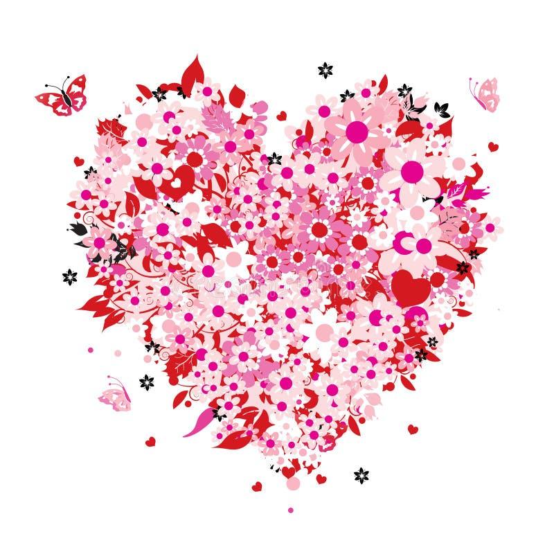 blom- hjärtaform royaltyfri illustrationer
