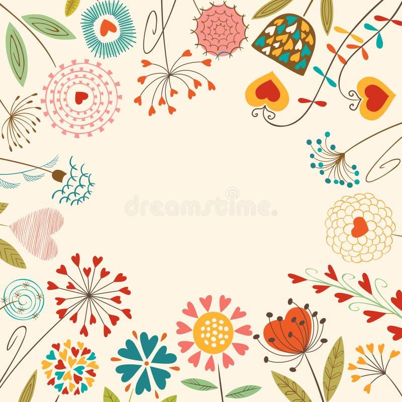 Blom- hjärtakort vektor illustrationer