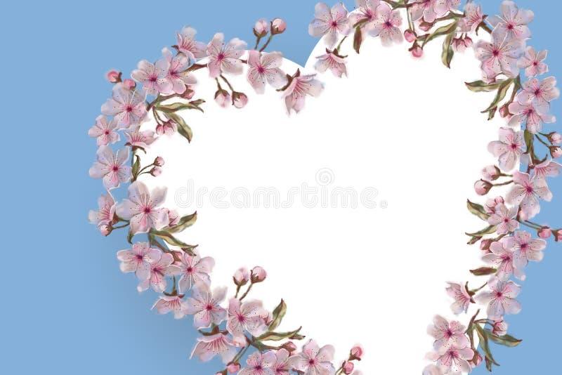 Blom- hjärtakrans på blått med textutrymme Målad blom- krans för vattenfärg hand Rosa färg blommar på blåttbakgrund royaltyfri illustrationer