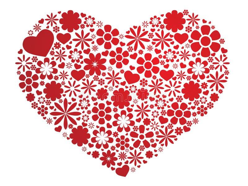 blom- hjärtapatten stock illustrationer