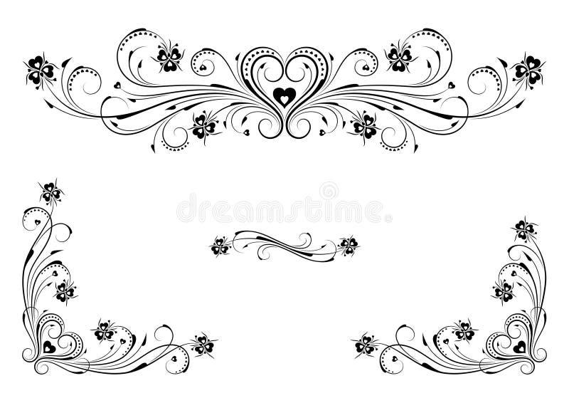 blom- hjärtaprydnadar royaltyfri illustrationer