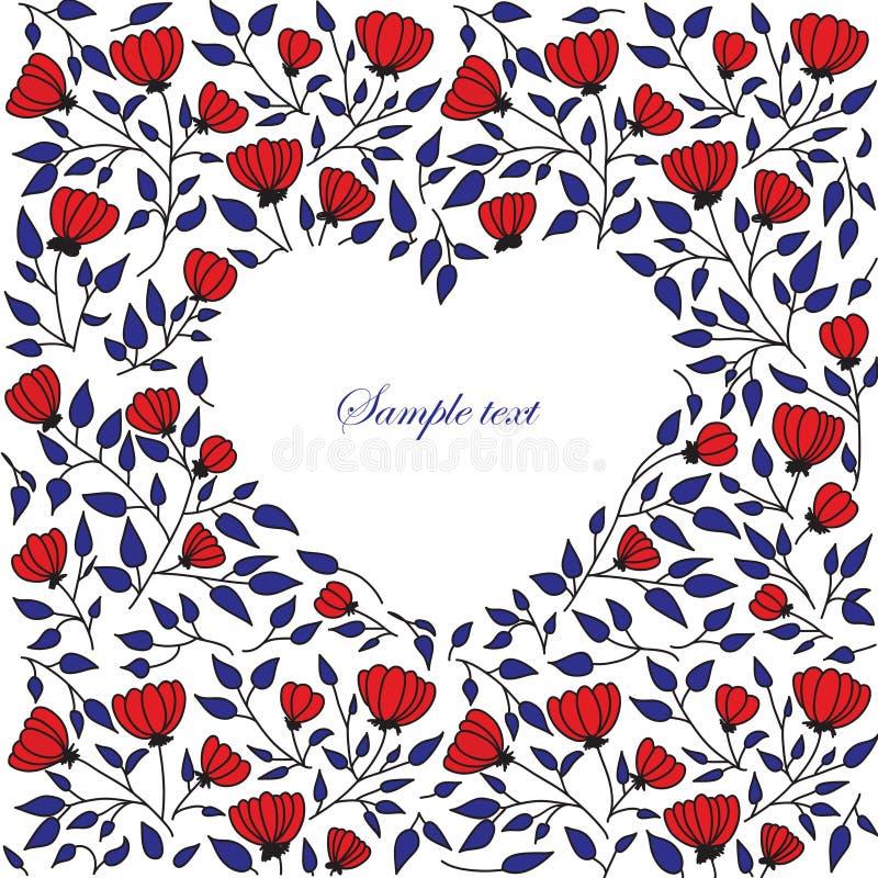 Blom- hjärtaram för vektor royaltyfri illustrationer