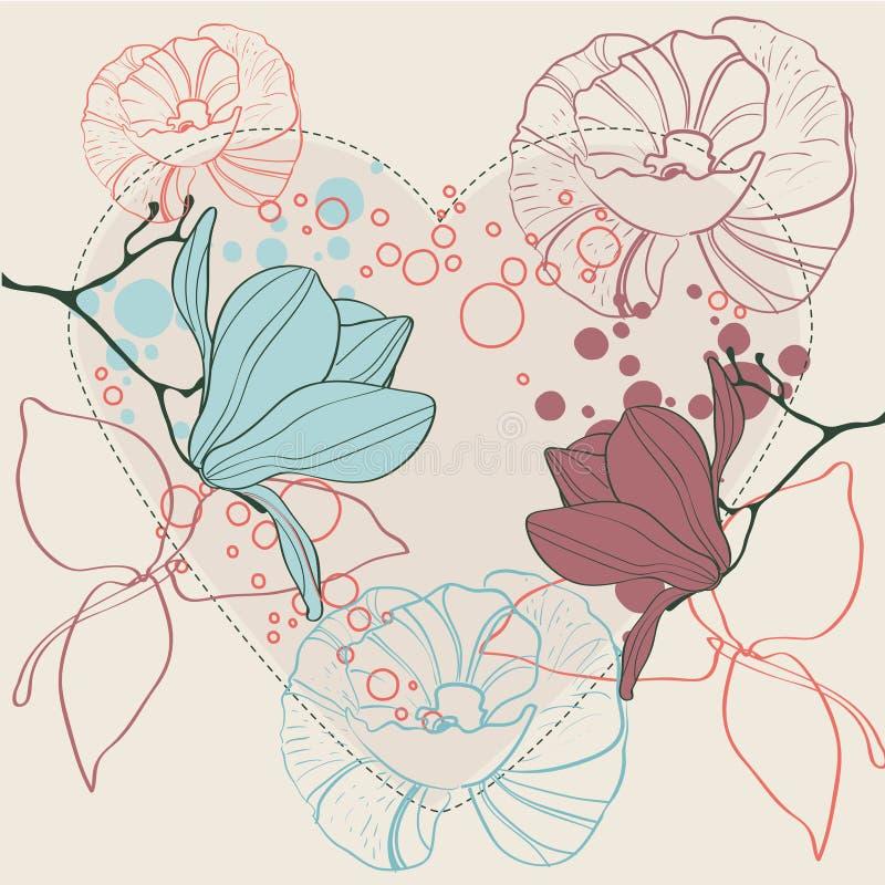 blom- hjärtastilvalentin royaltyfri illustrationer