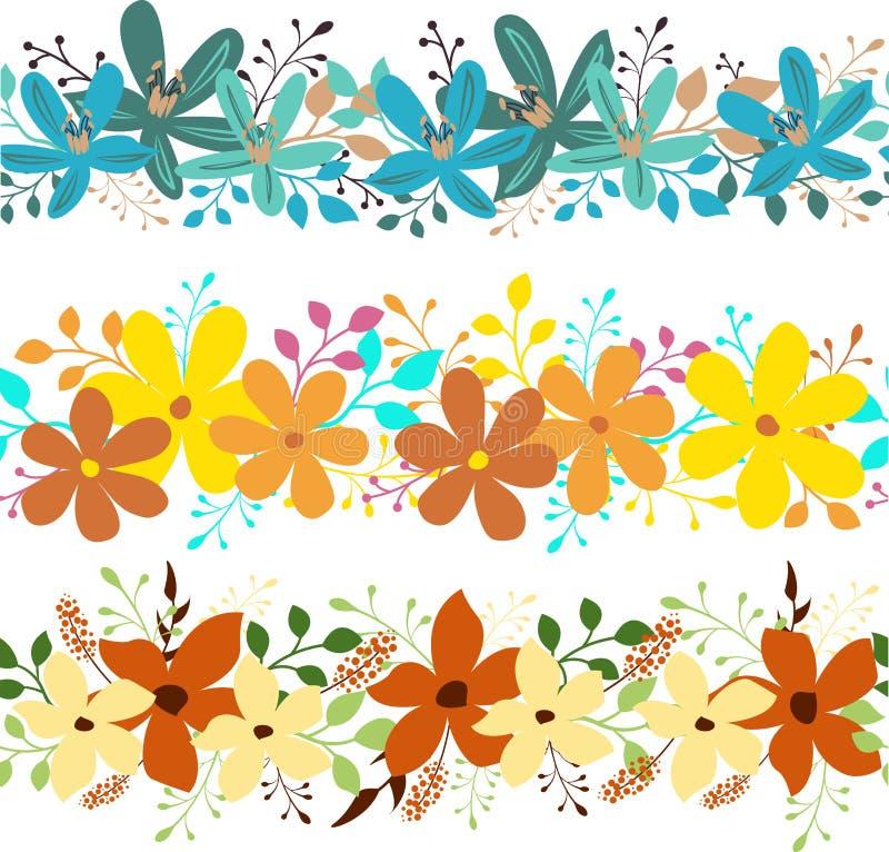blom- horisontalset för baner vektor illustrationer
