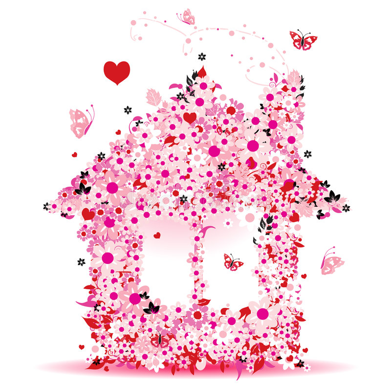 blom- hus stock illustrationer