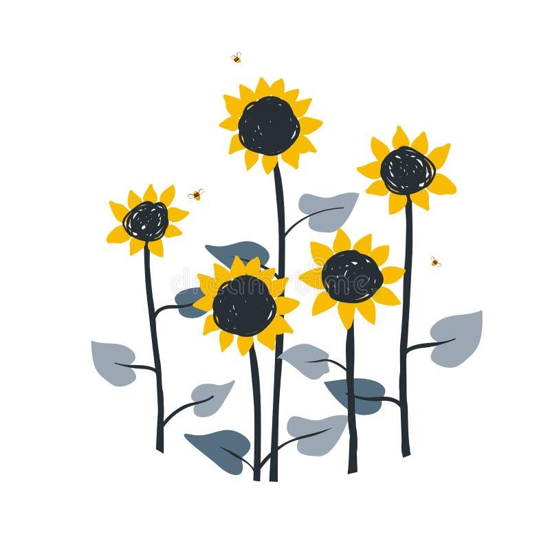 Blom- illustration för klotter med lösa ängsolrosor som isoleras på vit bakgrund Vektorbeståndsdel för solrosor royaltyfri illustrationer