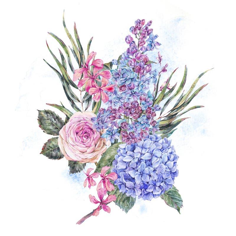 Blom- illustration för vattenfärgtappning med lila blåa vanliga hortensian den rosor, och fältblommor royaltyfri illustrationer