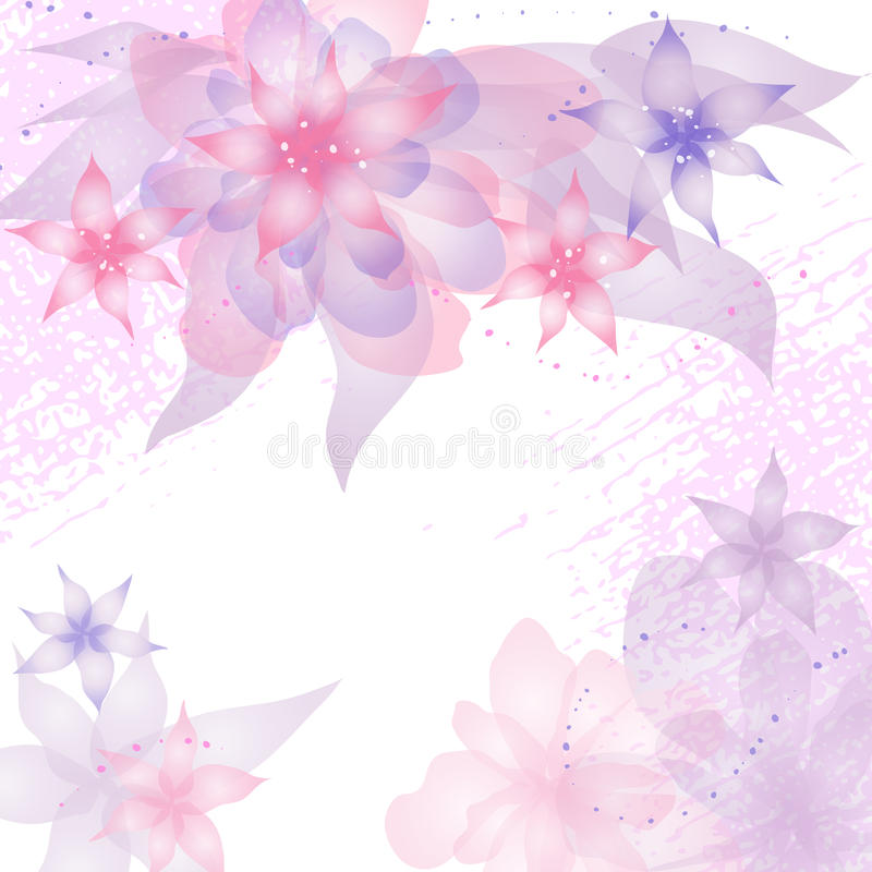 blom- inbjudan för abstrakt bakgrundskort stock illustrationer