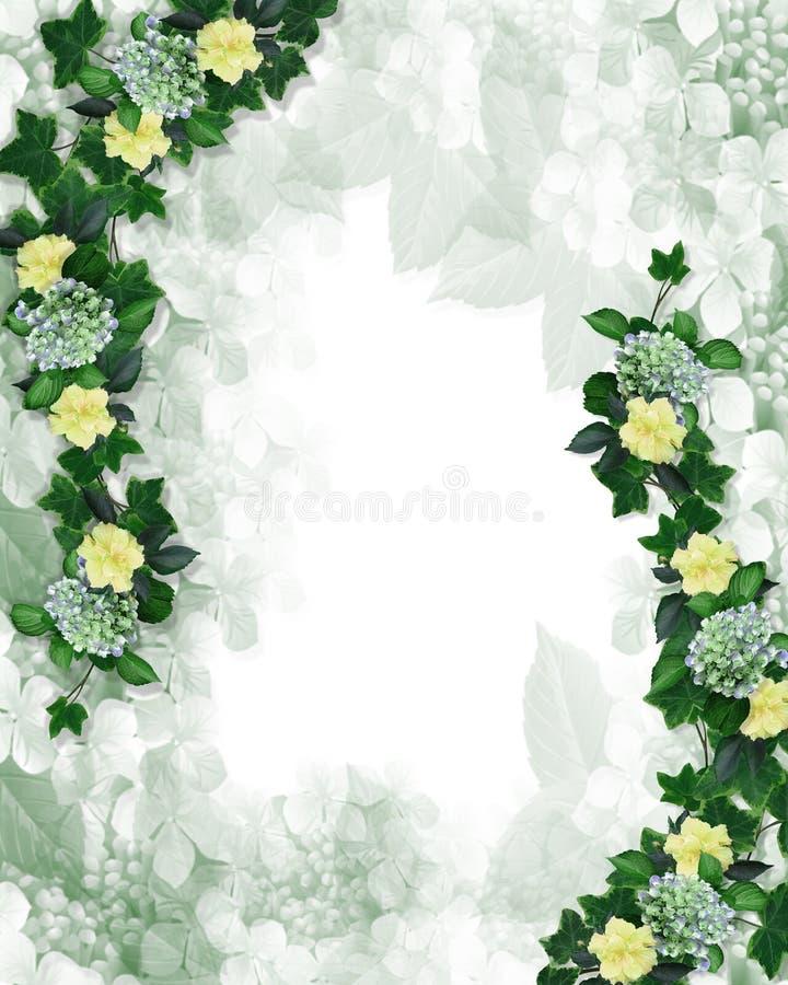 blom- inbjudan för kantdesignelement royaltyfri illustrationer