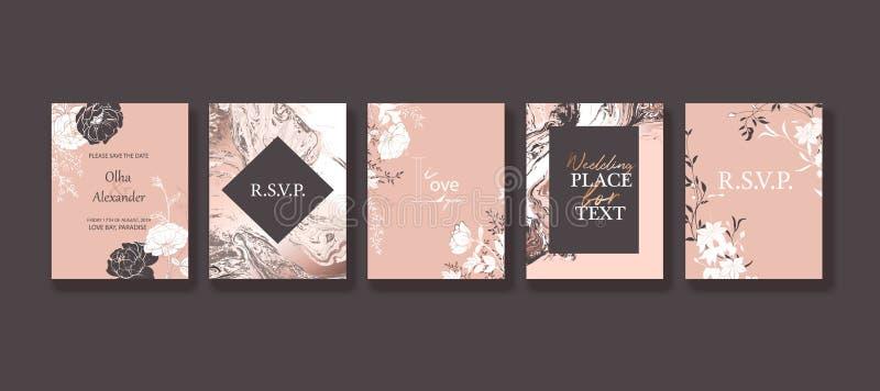 Blom- inrama designen Br?llopinbjudanordning Utdragna blommor för hand, rosor, sidor Rosa guld- marmortextur vektor illustrationer