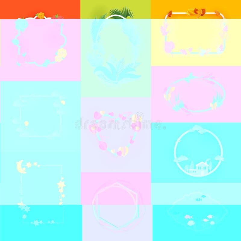 Blom- inrama för ramvektor för bildgarnering och blommad gräns för uppsättning för illustration för hälsningkort av dekorativt royaltyfri illustrationer