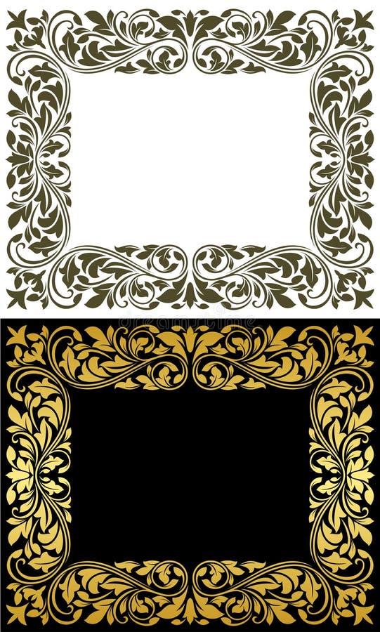 Blom- inrama i retro utformar stock illustrationer