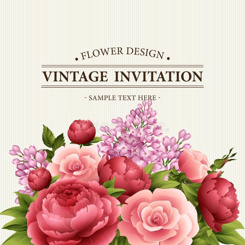 Blom- inrama med blommor Blom- bukett med pionen, rosa och lila kortet blommar hälsningstappning vattenfärg vektor illustrationer