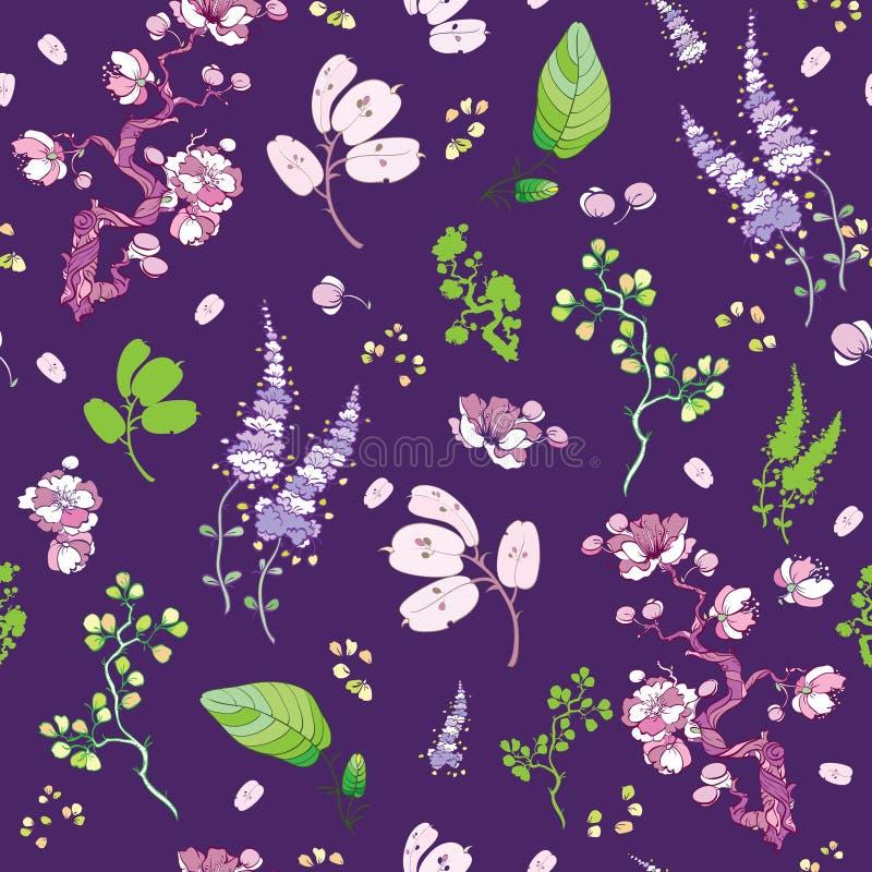 Blom- japansk kimono för vektorlilagräsplan royaltyfri illustrationer