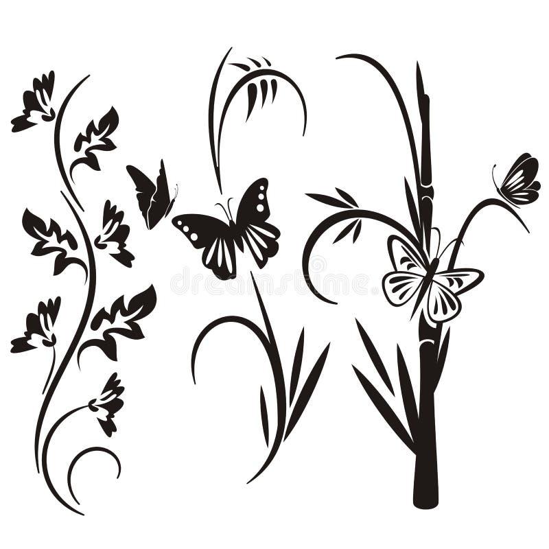 blom- japansk serie för design royaltyfri illustrationer