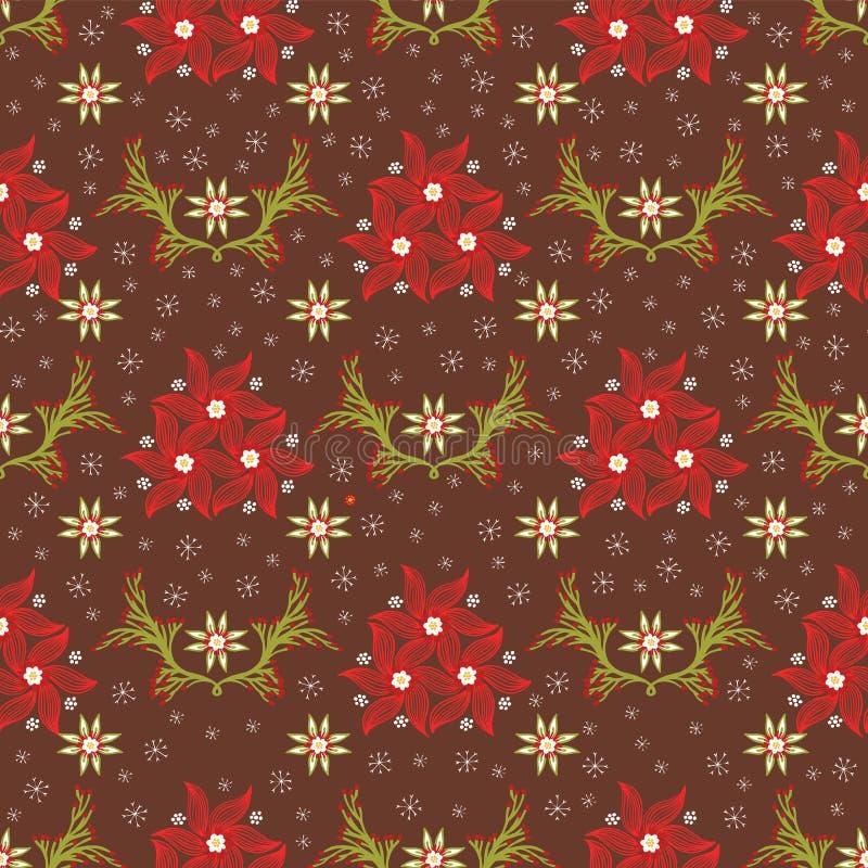 Blom- juljulstjärnasnöflinga vektor illustrationer